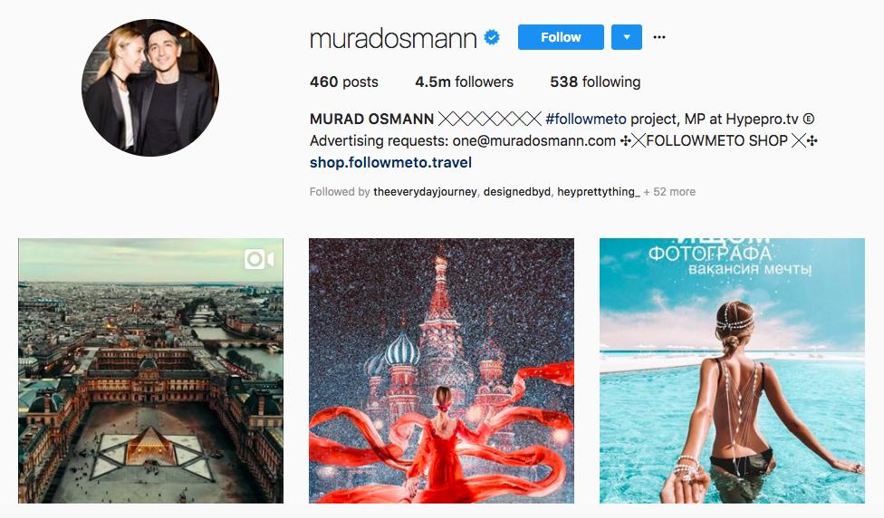 Murad Osmann Top Instagram Brand Influencer