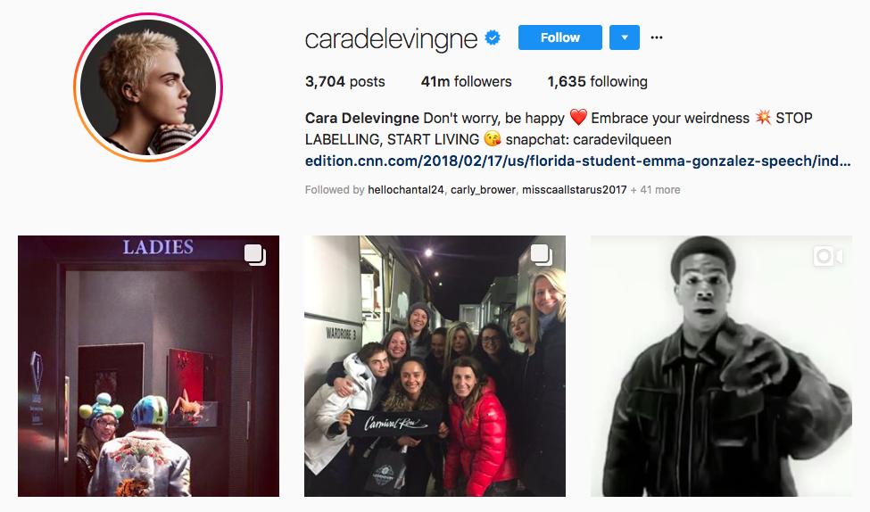 Cara Delevingne top instagram brand influencers