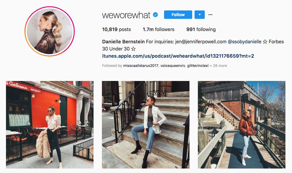 Danielle Bernstein Instagram Brand Influencer