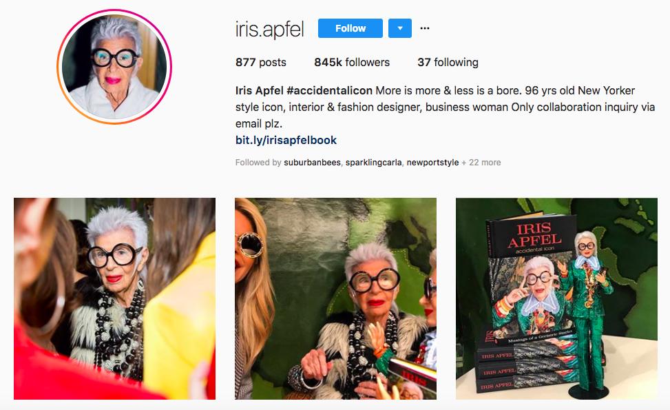 Iris Apfel Top Instagram brand influencers