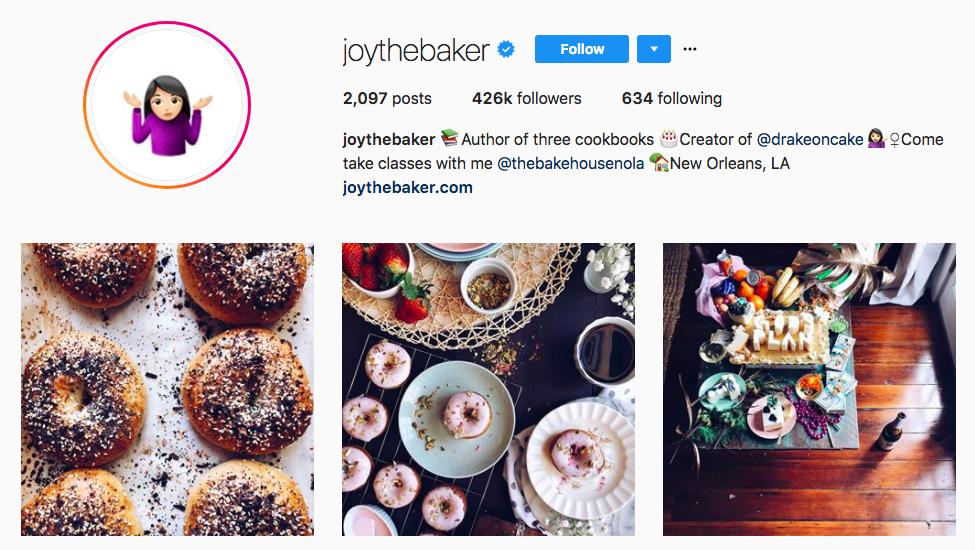 joythebaker best influencers 2017