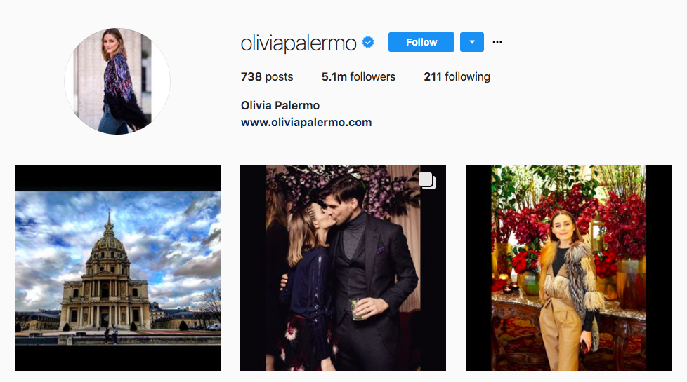 Olivia Palermo top fashion Instagram influencer