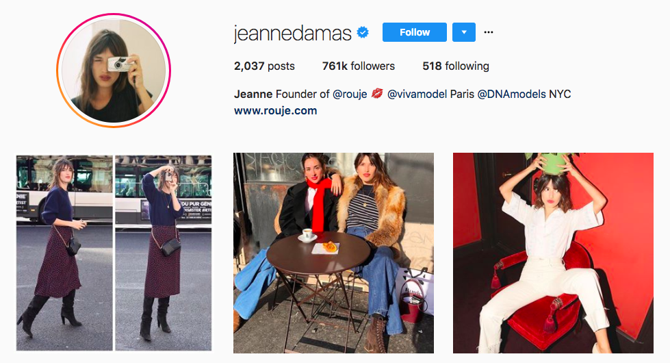 Jeanne Damas top fashion Instagram Influencer