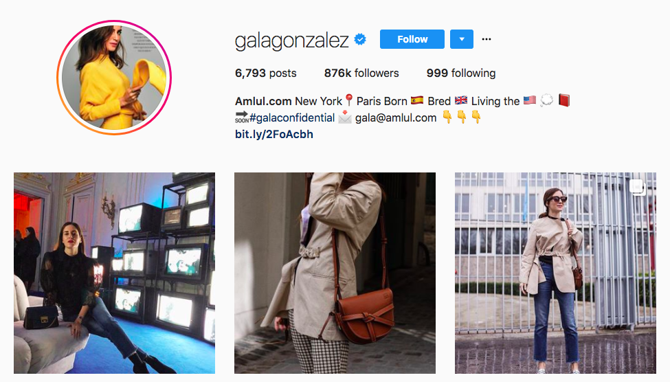 Gala Gonzalez top fashion Instagram influencer