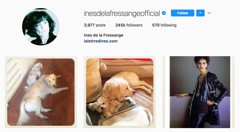 Ines de la Fressange top fashion Instagram influencer