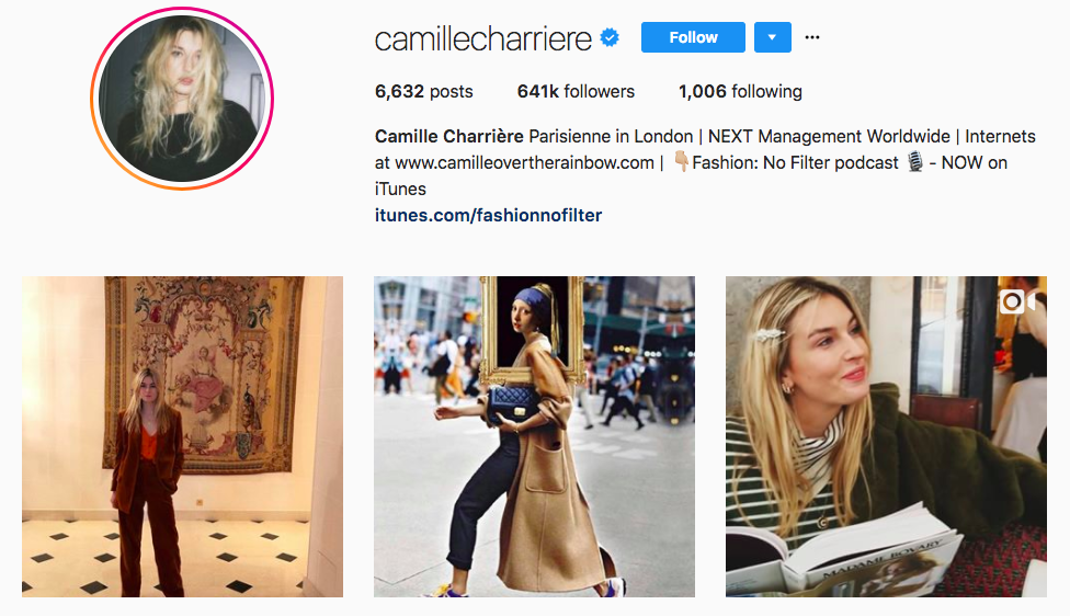 Camille Charrière top fashion Instagram influencer