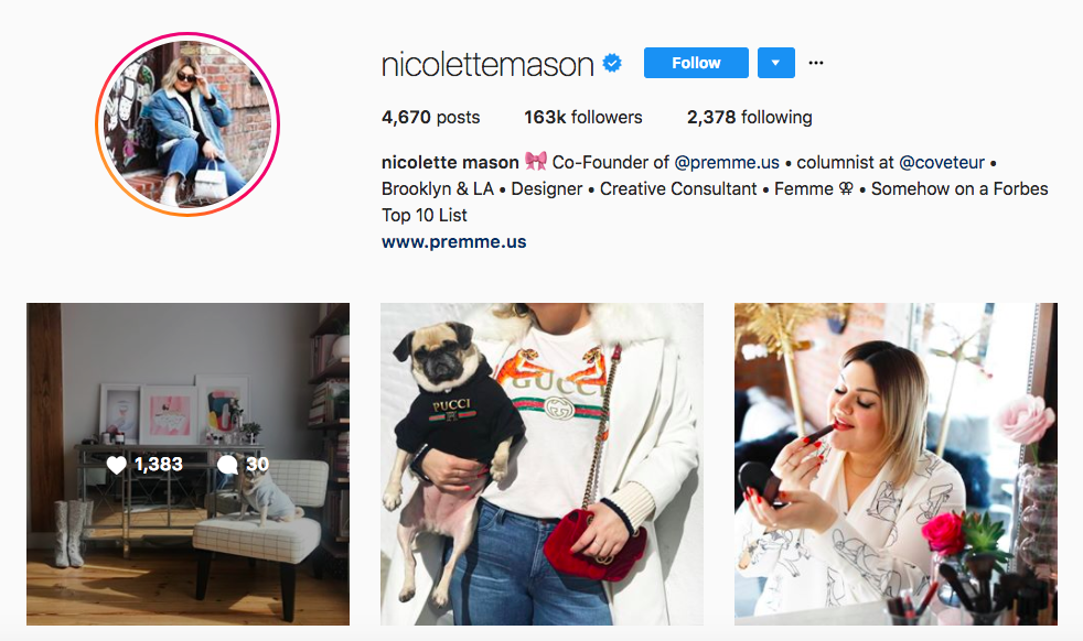 Nicolette Mason top fashion instagram influencer