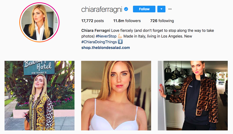Chiara Ferragni Top Fashion Instagram Influencers