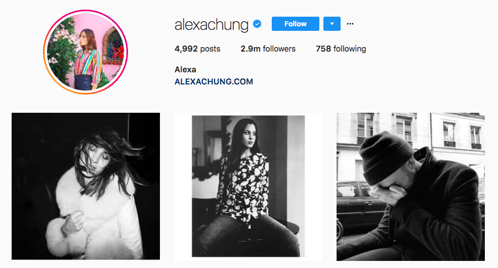 Alexa Chung Instagram fashion influencer