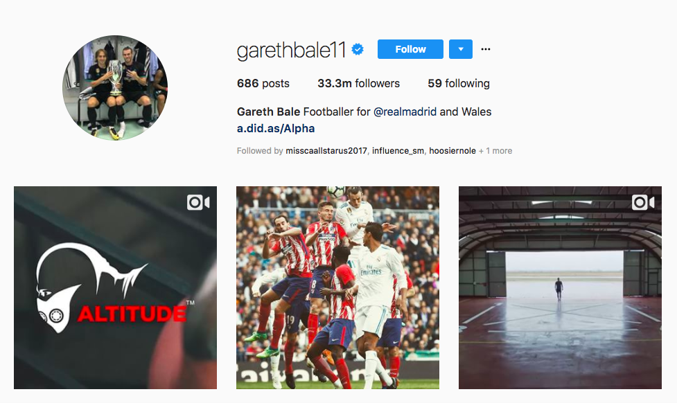 Gareth Bale top UK Influencers