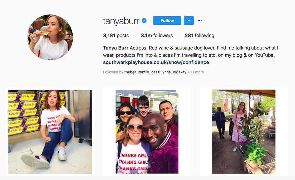 Tanya Burr top UK influencers