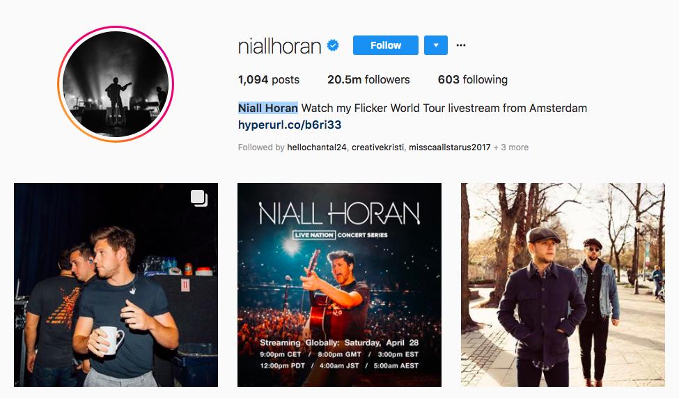 Niall Horan top UK influencers