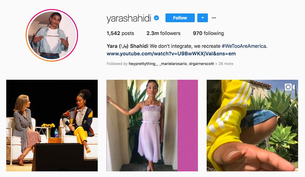 Yara (يارا) Shahidi top black social media influencers
