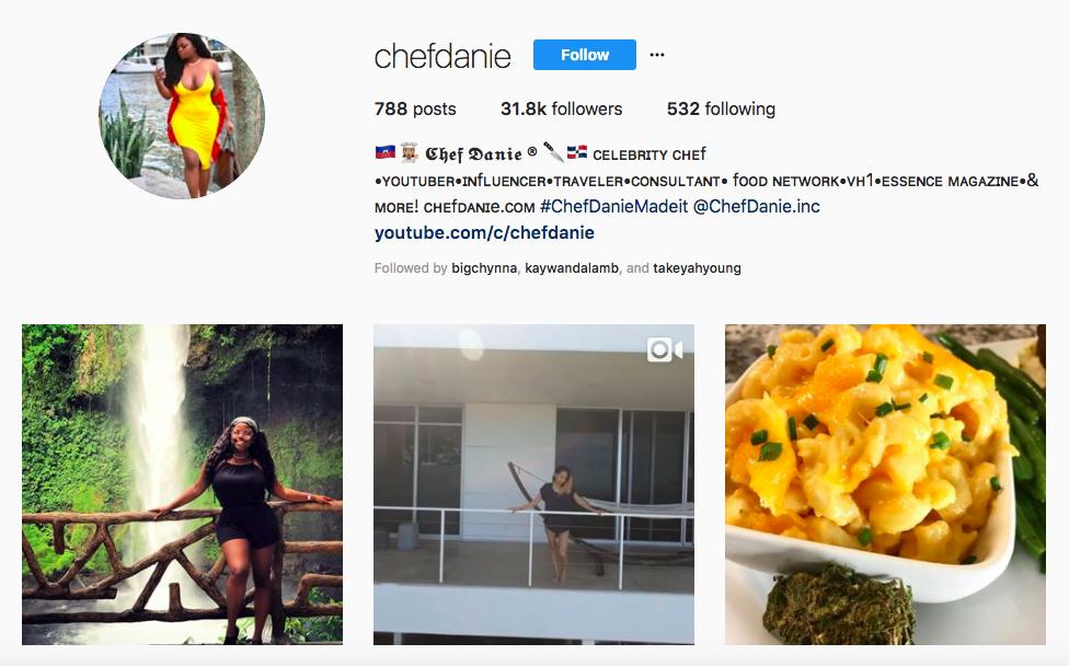 Chef Danie top black social media influencers