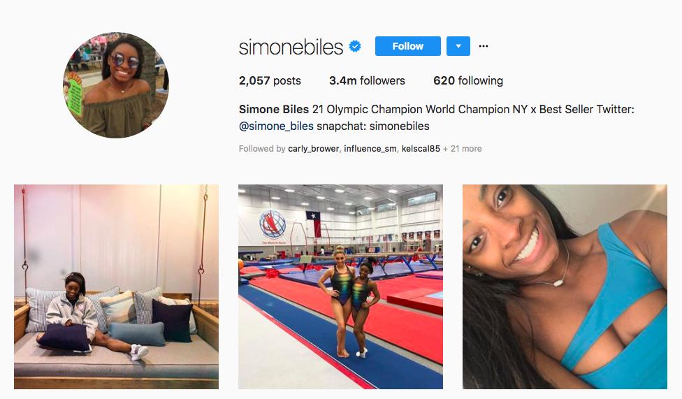 Simone Biles Top Black Social Media Influencers