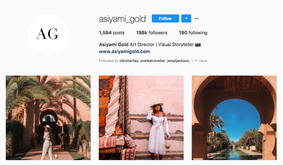 Asiyami Gold top black social media influencers
