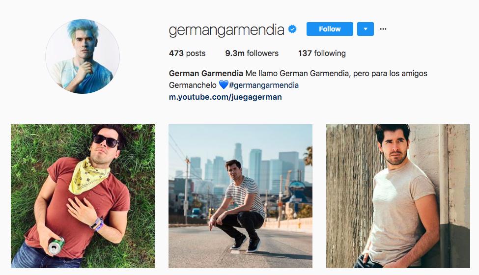 German Garmendia top hispanic social media influencers