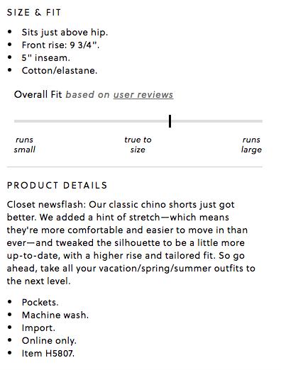 J Crew Ecommerce Product Description