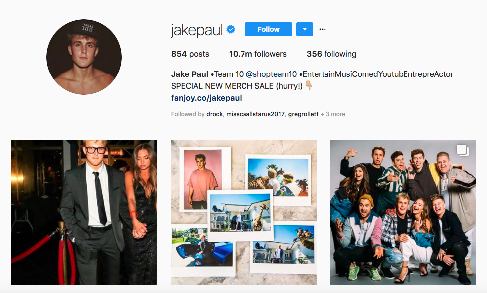 Jake Paul top male social media influencers