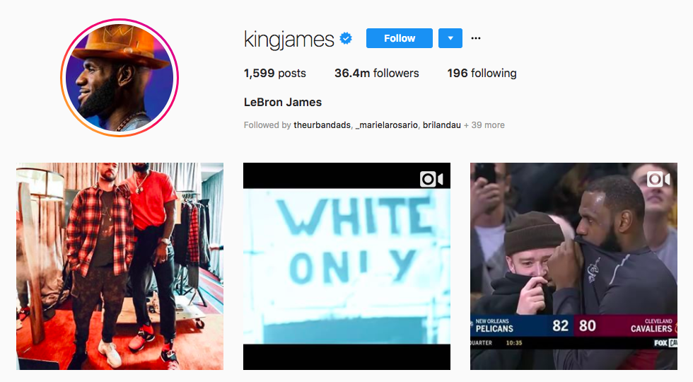 LeBron James top male social media influencers