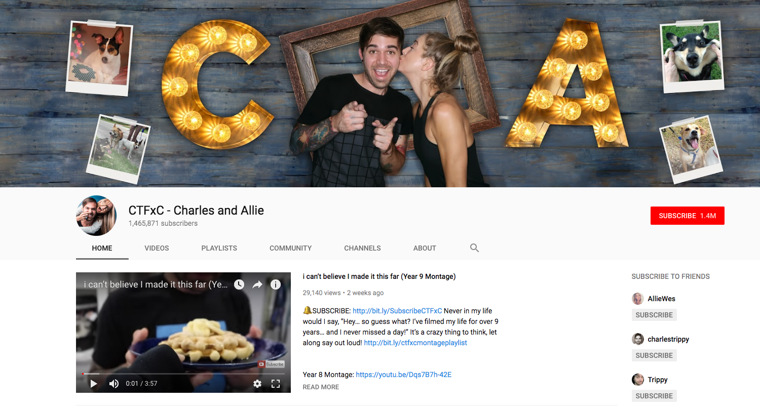 CTFxC - Charles and Allie top daily youtube vloggers