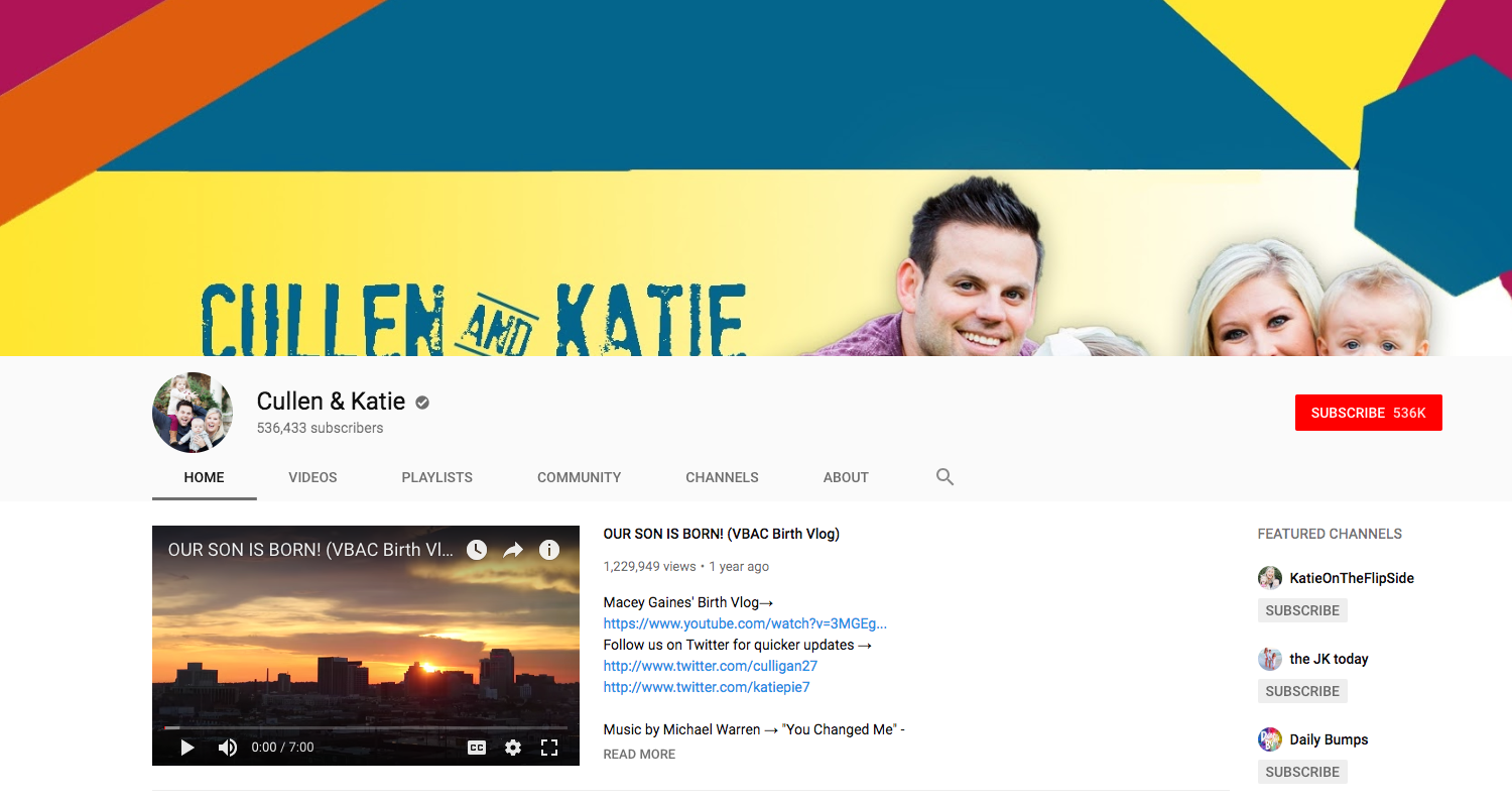 Cullen & Katie top daily youtube vloggers