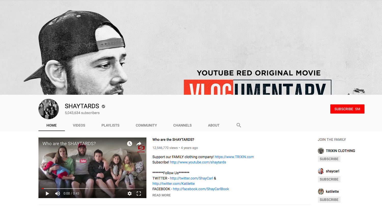 SHAYTARDS top daily youtube vloggers