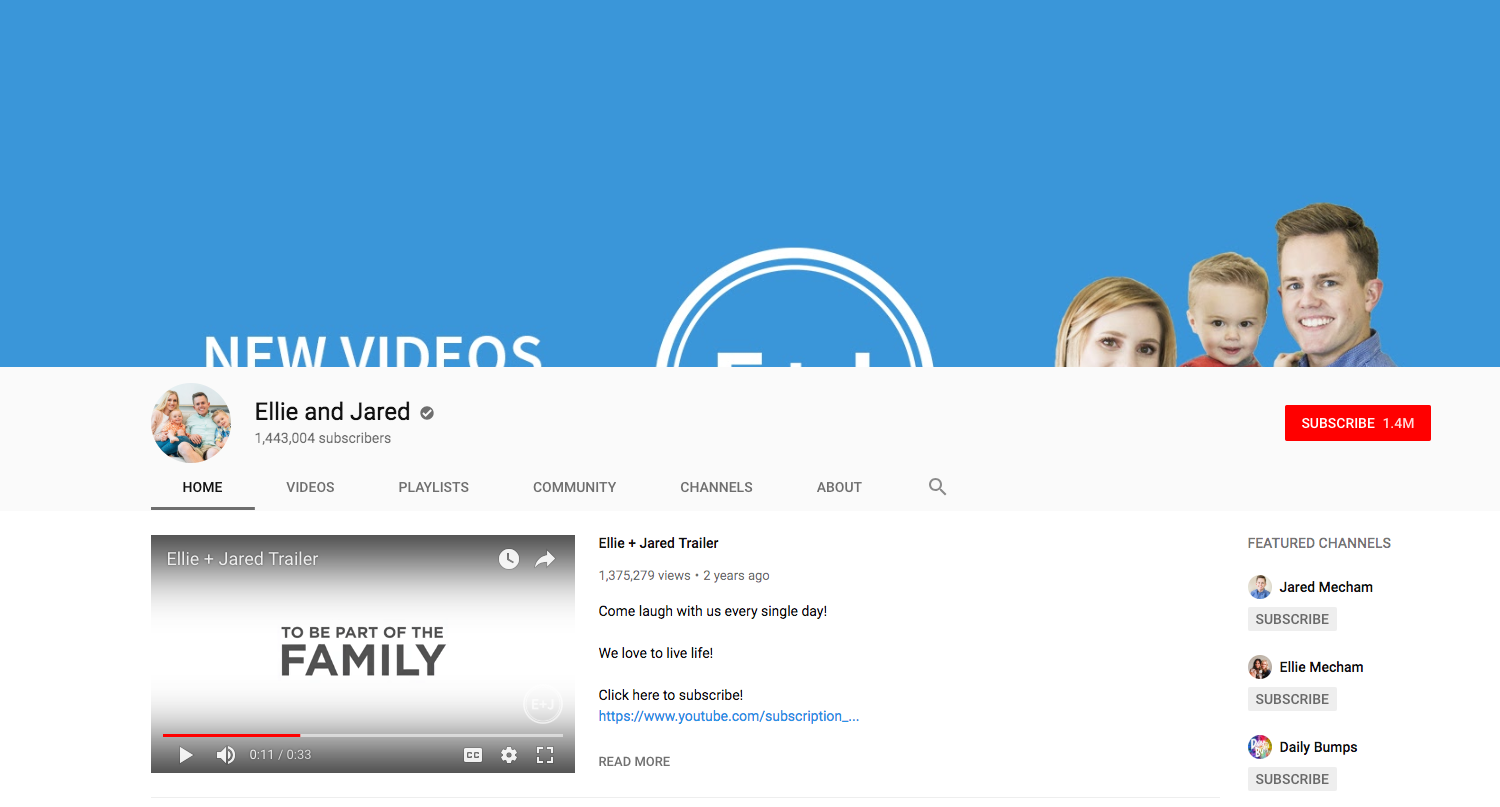 Ellie and Jared top daily youtube vloggers