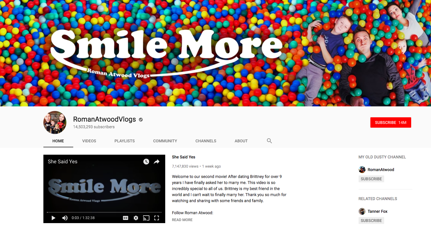 Roman Atwood Vlogs top daily youtube vloggers