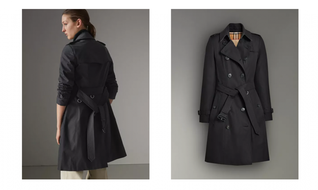 Burberry Interactive product page example