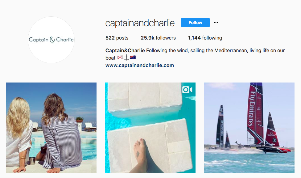 Captain&Charlie top luxury travel influencers