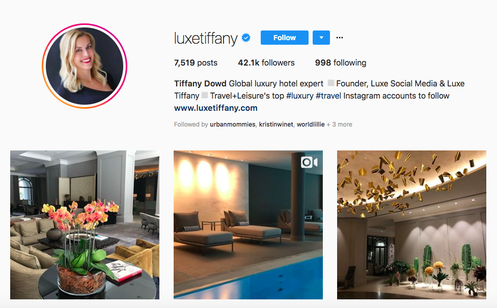 Tiffany Dowd top luxury travel influencers