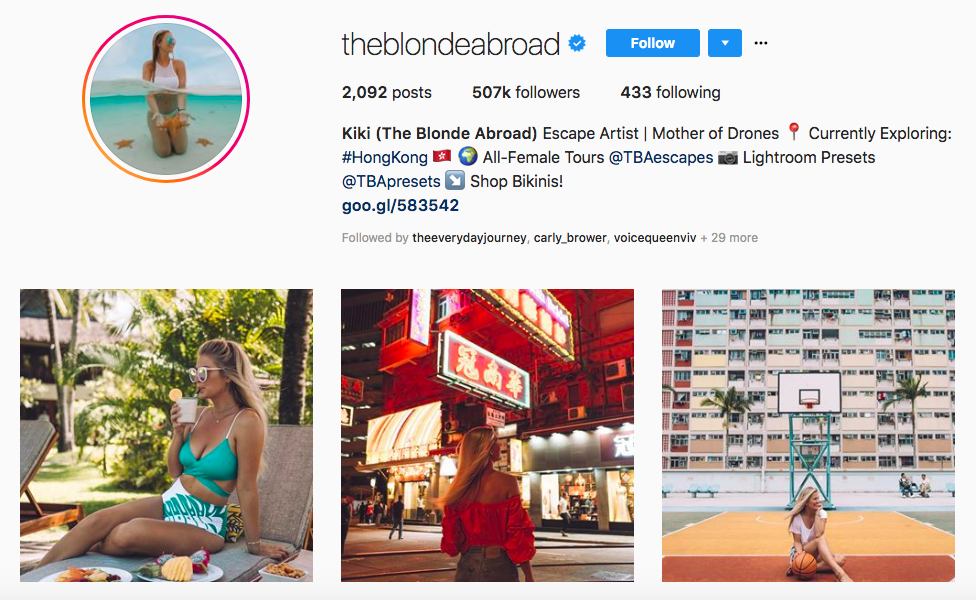 Kiki (The Blonde Abroad) top luxury travel influencers