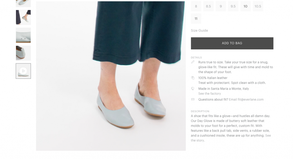 Everlane Ecommerce Product Page Example