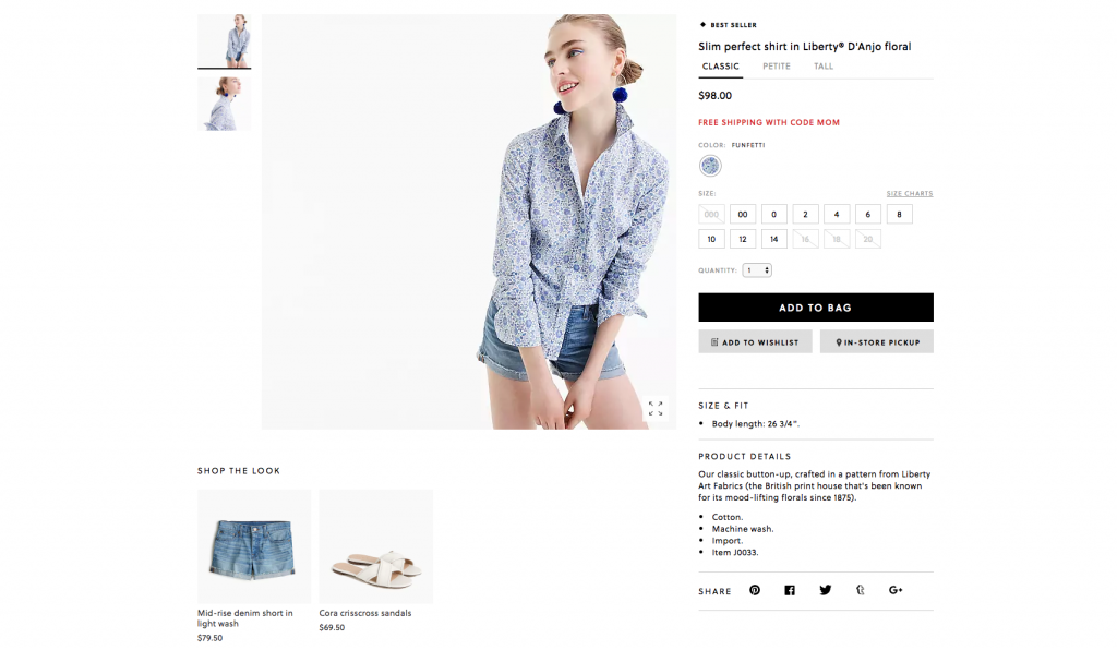 J. Crew Ecommerce Product Page Example
