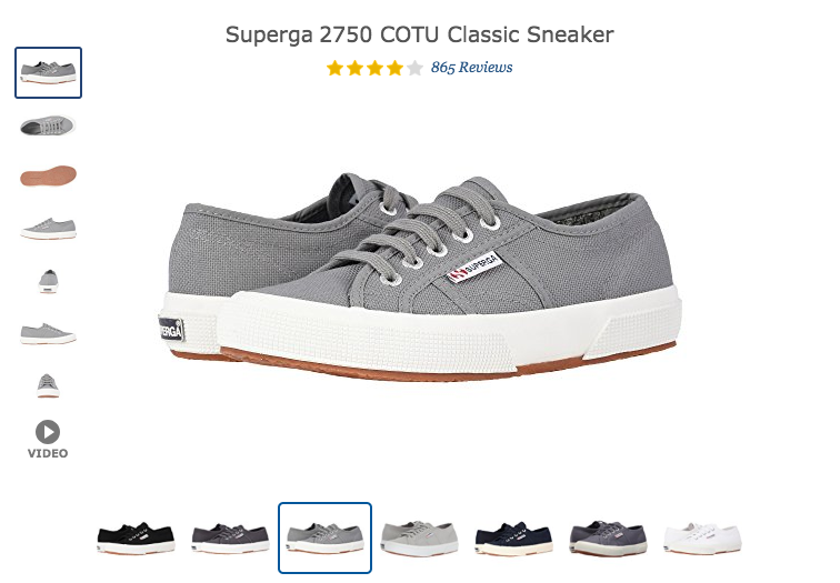 Zappos Ecommerce Product Page Examples