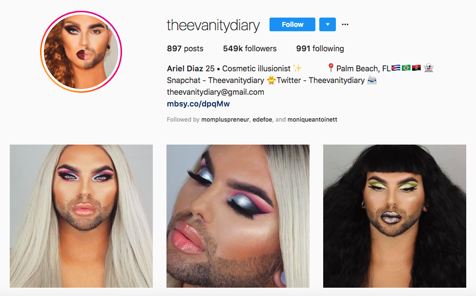 Ariel Diaz top male beauty influencers
