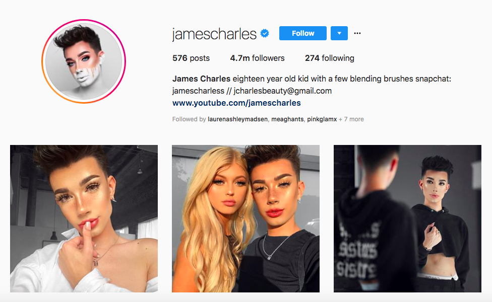 James Charles Principales influencers masculinos en belleza