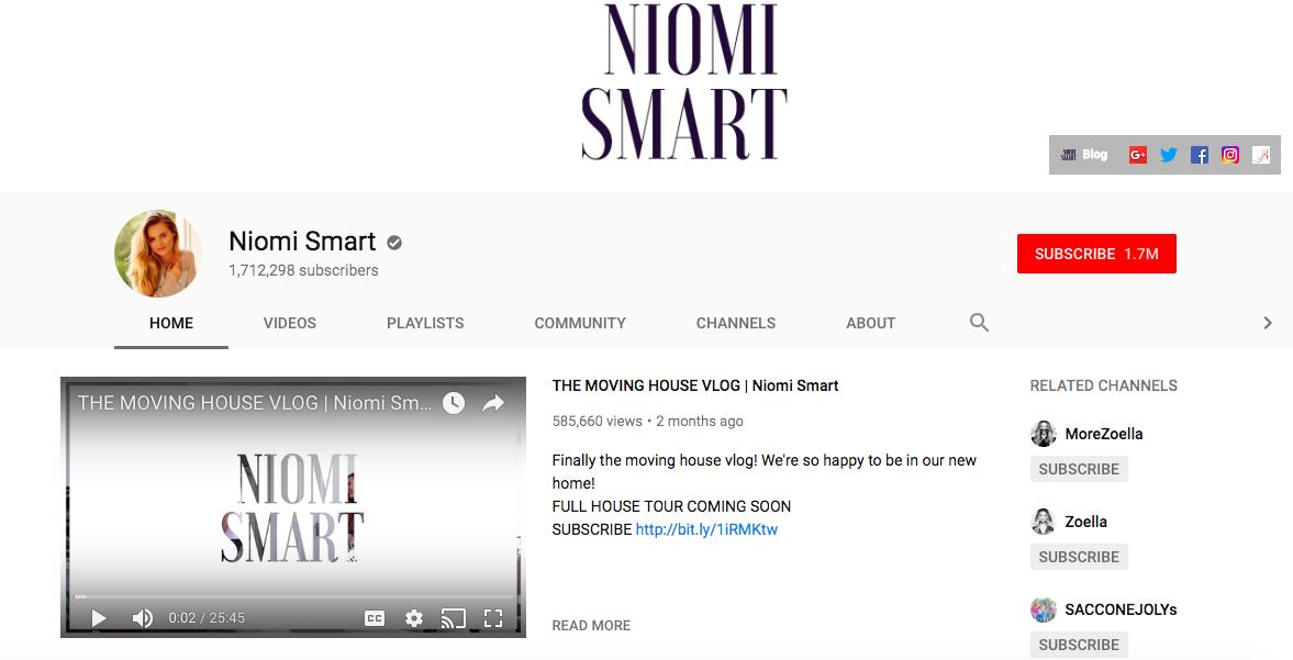 Niomi Smart top British YouTubers