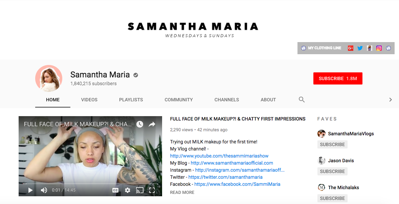 Samantha Maria top British YouTubers