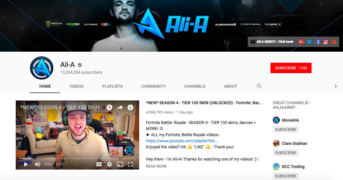 Ali-A top British YouTuber