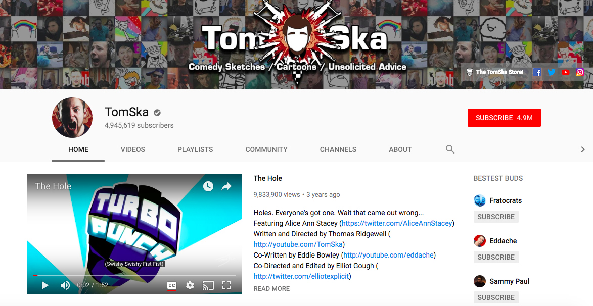 TomSka top British YouTubers