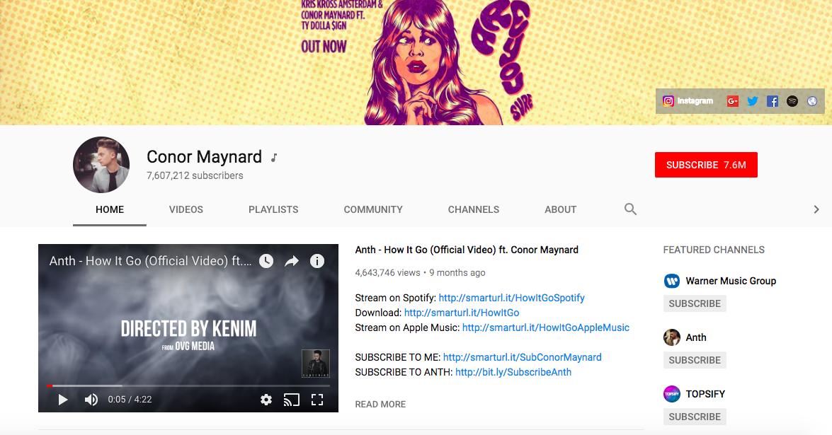 Conor Maynard top British YouTubers