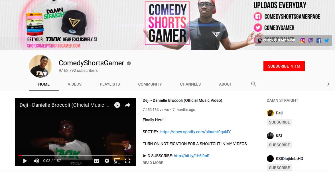 ComedyShortsGamer top British YouTubers