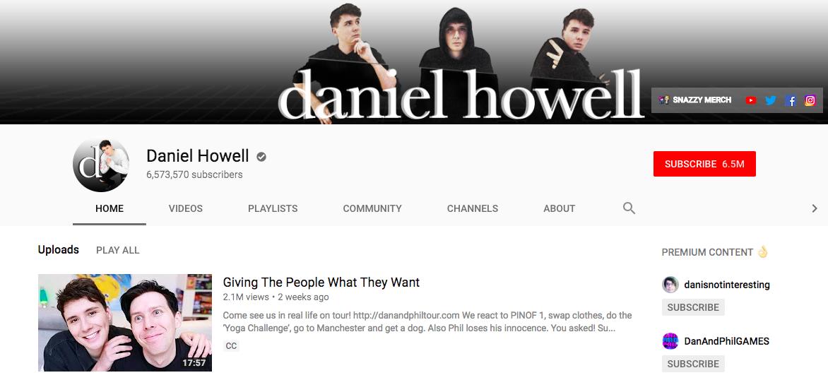Daniel Howell top British YouTubers