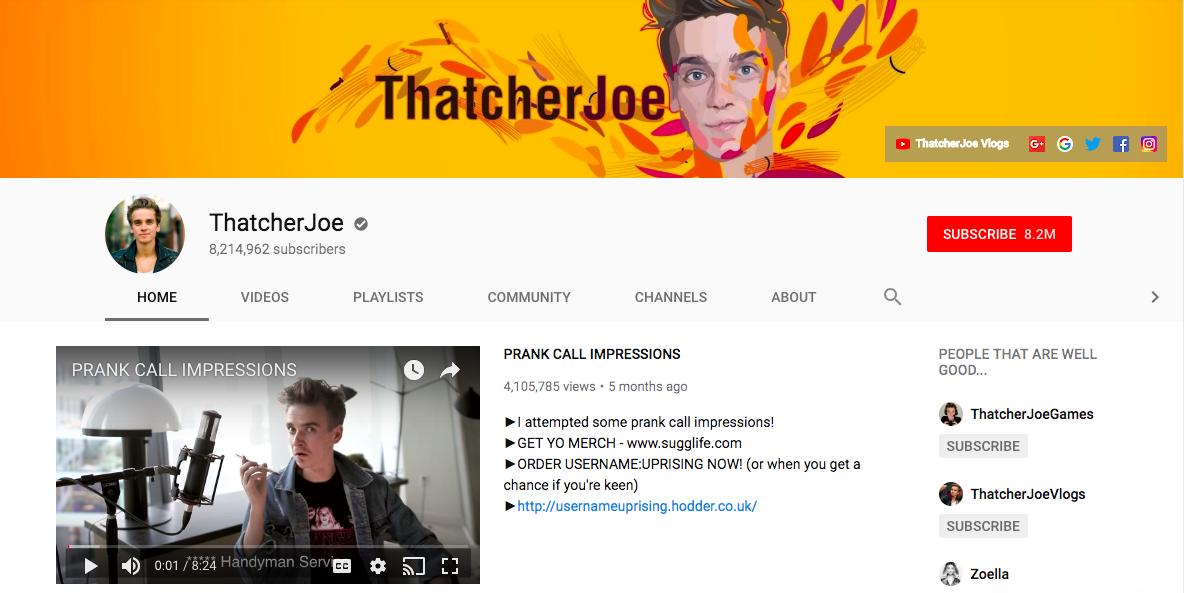 ThatcherJoe top British YouTubers