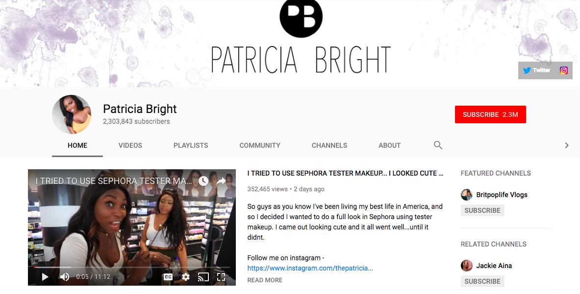 Patricia Bright top British YouTuber