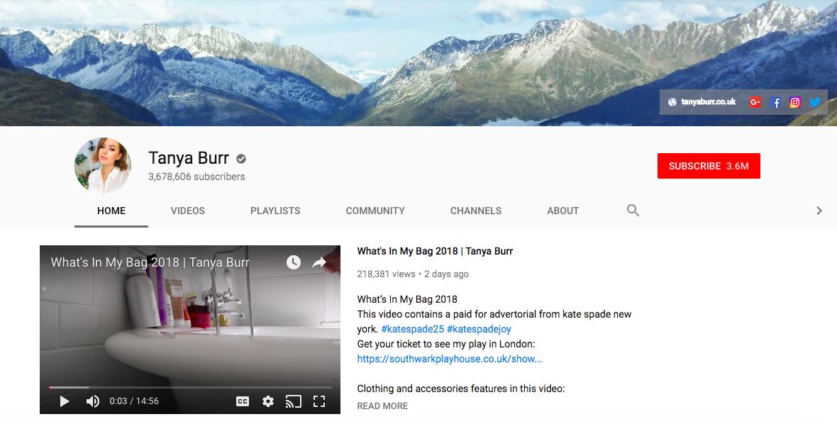 Tanya Burr top british youtubers
