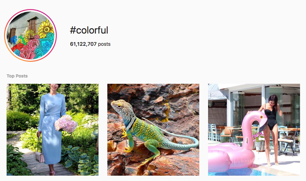 #colorful top instagram hashtags