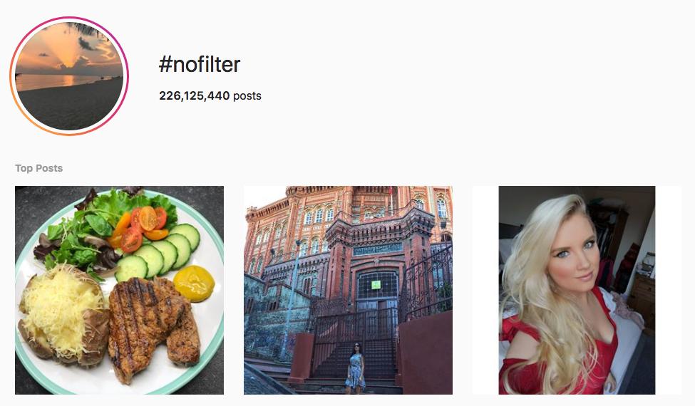 #nofilter top instagram hashtags